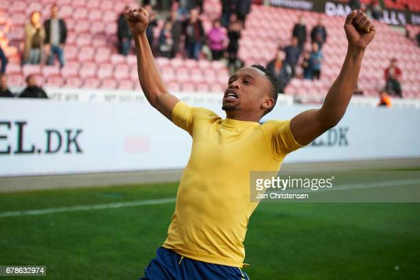 Lebogang Phiri of Brondby IF celebrate after the Danish Cup DBU Pokalen semifinal match between FC Midtjylland and Brondby IF at MCH Arena on May 04...