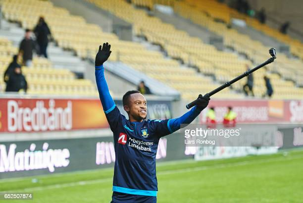 Lebogang Phiri of Brondby IF celebrates after the Danish Alka Superliga match between AC Horsens and Brondby IF at Casa Arena Horsens on March 12...