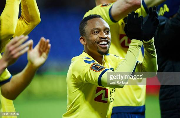 Lebogang Phiri of Brondby IF celebrates after the Danish Cup DBU Pokalen quarterfinal match between Randers FC and Brondby IF at BioNutria Park on...