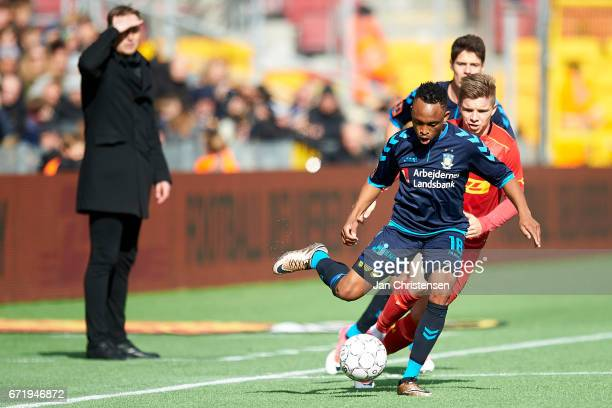 Lebogang Phiri of Brondby IF compete for the ball during the Danish Alka Superliga match between FC Nordsjalland and Brondby IF at Right to Dream...