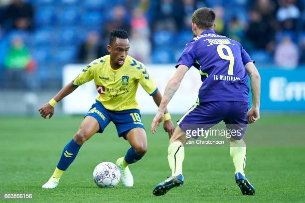 Lebogang Phiri of Brondby IF controls the ball during the Danish Alka Superliga match between Brondby IF and FC Midtjylland at Brondby Stadion on...