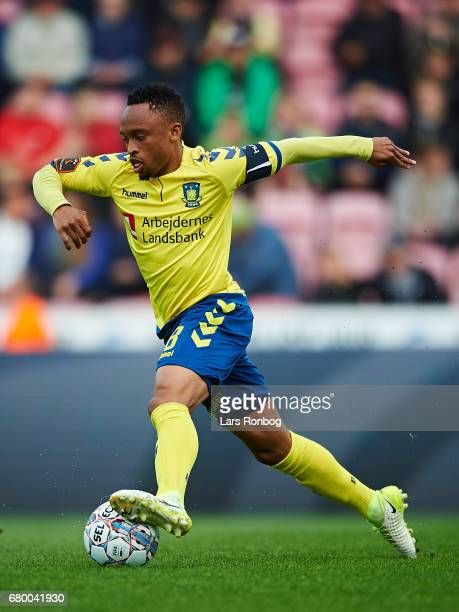 Lebogang Phiri of Brondby IF controls the ball during the Danish Alka Superliga match between FC Midtjylland and Brondby IF at MCH Arena on May 7...