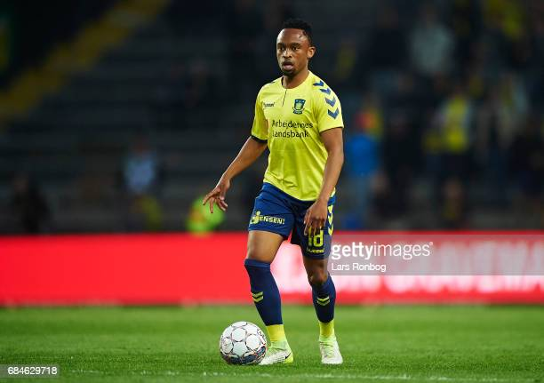 Lebogang Phiri of Brondby IF controls the ball during the Danish Alka Superliga match between Brondby IF and Lyngby BK at Brondby Stadion on May 18...