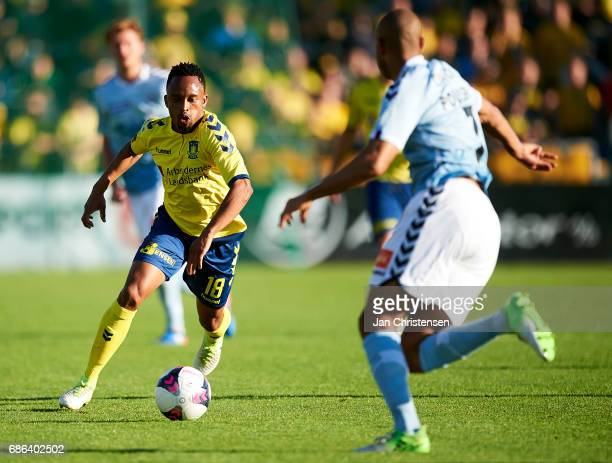 Lebogang Phiri of Brondby IF controls the ball during the Danish Alka Superliga match between SonderjyskE and Brondby IF at Sydbank Park on May 21...