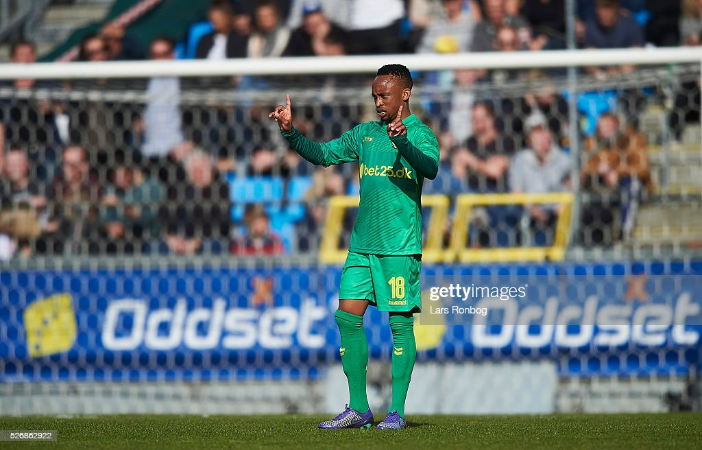 Lebogang Phiri of Brondby IF gestures during the Danish Alka Superliga match between AaB Aalborg and Brondby IF at Nordjyske Arena on May 1, 2016 in Aalborg, Denmark.