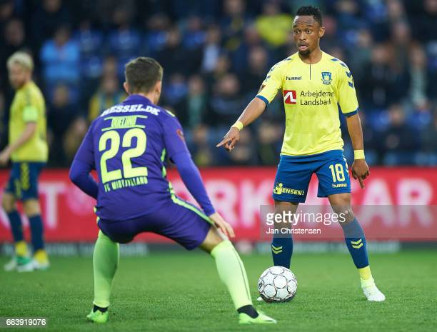 Lebogang Phiri of Brondby IF in action during the Danish Alka Superliga match between Brondby IF and FC Midtjylland at Brondby Stadion on April 02...
