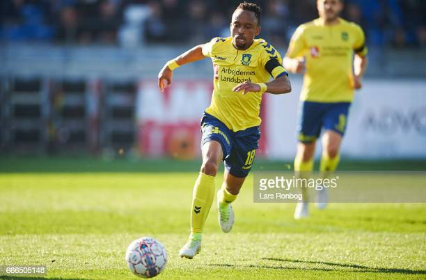 Lebogang Phiri of Brondby IF in action during the Danish Alka Superliga match between Lyngby BK and Brondby IF at Lyngby Stadion on April 9 2017 in...