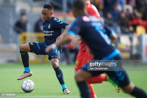 Lebogang Phiri of Brondby IF in action during the Danish Alka Superliga match between FC Nordsjalland and Brondby IF at Right to Dream Park on April...