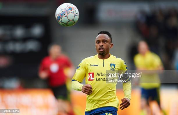 Lebogang Phiri of Brondby IF in action during the Danish Alka Superliga match between FC Midtjylland and Brondby IF at MCH Arena on May 7 2017 in...