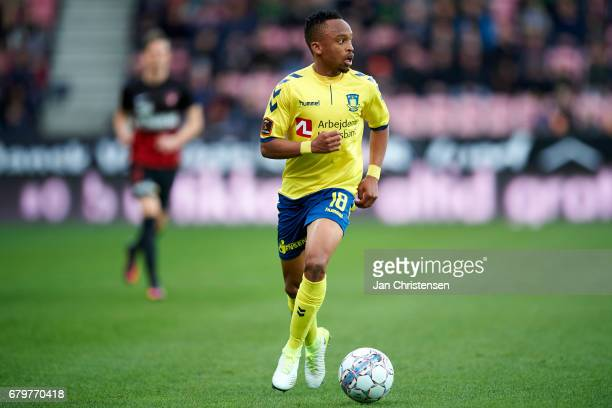 Lebogang Phiri of Brondby IF in action during the Danish Cup DBU Pokalen semifinal match between FC Midtjylland and Brondby IF at MCH Arena on May 04...