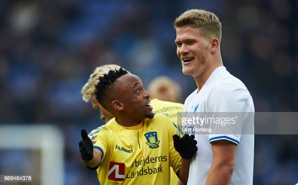 Lebogang Phiri of Brondby IF in discussion with Andreas Cornelius of FC Copenhagen during the Danish Alka Superliga match between Brondby IF and FC...
