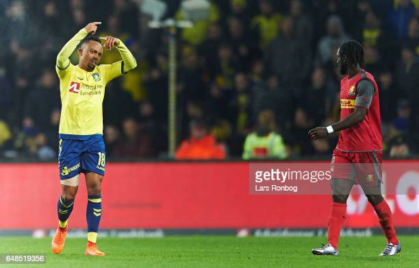 Lebogang Phiri of Brondby IF leaving the pitch injured during the Danish Alka Superliga match between Brondby IF and FC Nordsjalland at Brondby...