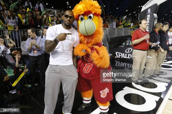LeBron James a Coach of Team Sudden poses for a photo with Burnie Mascot of the Miami Heat before the Sprite Uncontainable Game in Sprint Arena...