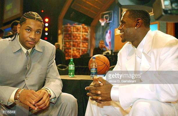 LeBron James and Carmelo Anthony gets some laughs prior to the 2003 NBA Draft at the Paramount Theatre at Madison Square Garden on June 26 2003 in...