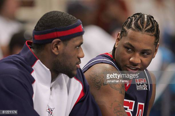 LeBron James and Carmelo Anthony on the bench during the second half of the men's basketball quarterfinal game against Spain on August 26 2004 during...