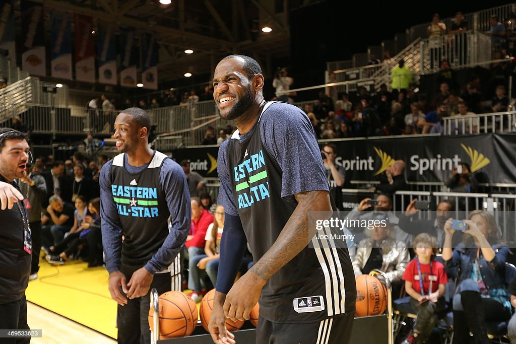 LeBron James #6 and Chris Bosh #1 of the Eastern Conference All-Stars share a laugh during the NBA All-Star Practices at Sprint Arena as part of 2014 NBA All-Star Weekend at the Ernest N. Morial Convention Center on February 15, 2014 in New Orleans, Louisiana.