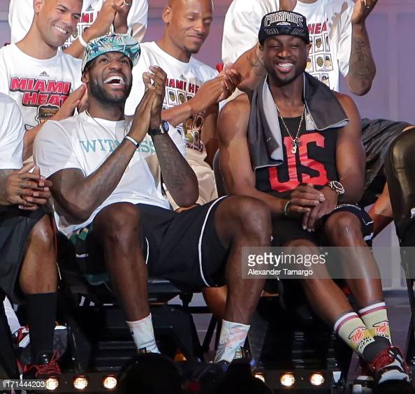 LeBron James and Dwyane Wade of the Miami Heat attend their NBA Championship victory rally at the AmericanAirlines Arena on June 24 2013 in Miami...