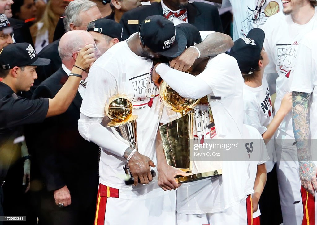 LeBron James #6 and Dwyane Wade #3 of the Miami Heat celebrate after defeating the San Antonio Spurs 95-88 to win Game Seven of the 2013 NBA Finals at AmericanAirlines Arena on June 20, 2013 in Miami, Florida.