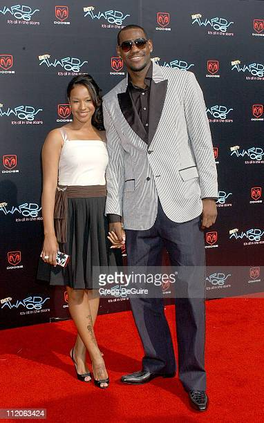 LeBron James and guest Savannah during 6th Annual BET Awards Arrivals at Shrine Auditorium in Los Angeles CA United States