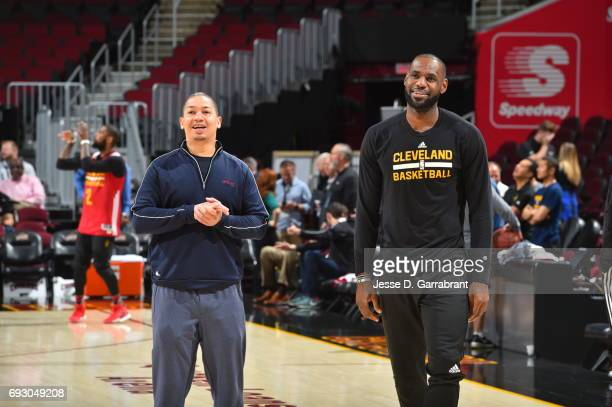 LeBron James and head coach Tyronn Lue of the Cleveland Cavaliers during practice and media availability as part of the 2017 NBA Finals on June 06...