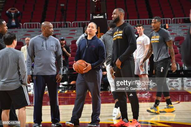 LeBron James and head coach Tyronn Lue of the Cleveland Cavaliers participate during practice and media availability as part of the 2017 NBA Finals...