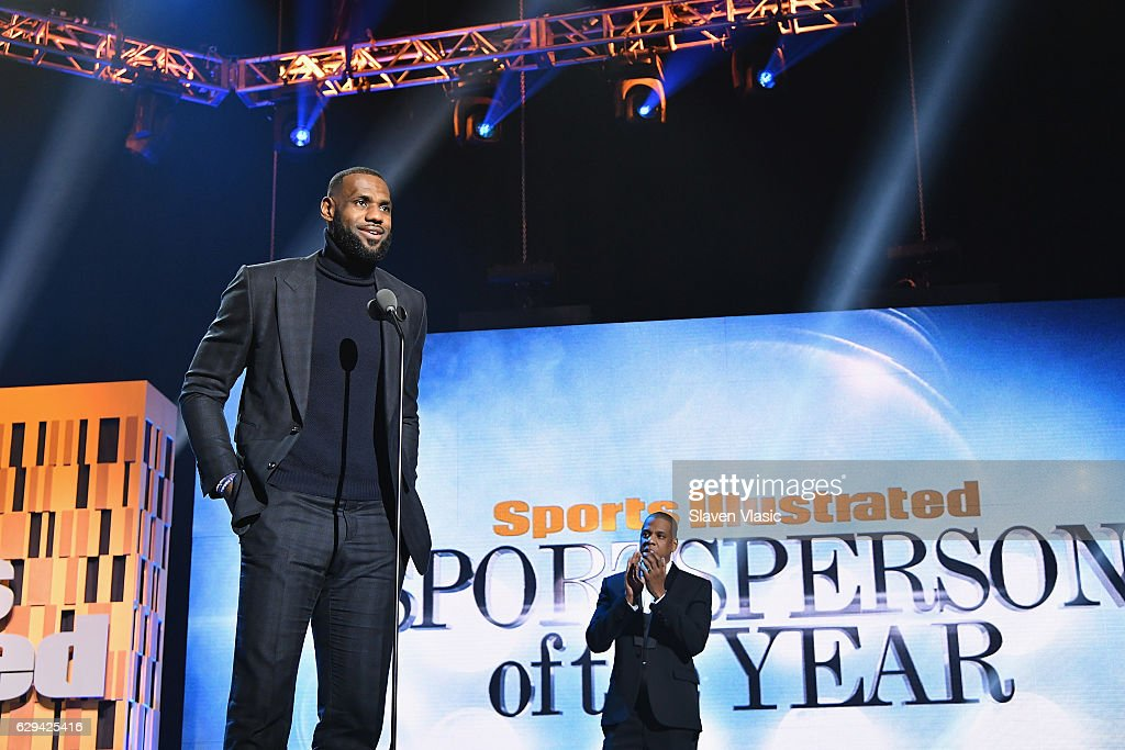 LeBron James and Jay Z speak onstage during the Sports Illustrated Sportsperson of the Year Ceremony 2016 at Barclays Center of Brooklyn on December 12, 2016 in New York City.