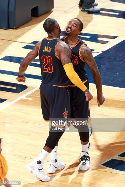 LeBron James and JR Smith of the Cleveland Cavaliers celebrate after beating the Indiana Pacers during Game Three of the Eastern Conference...