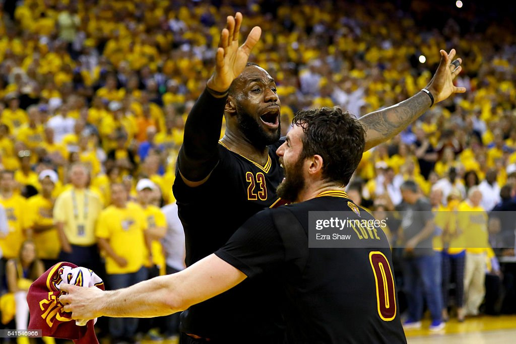 <a gi-track='captionPersonalityLinkClicked' href=/galleries/search?phrase=LeBron+James&family=editorial&specificpeople=201474 ng-click='$event.stopPropagation()'>LeBron James</a> #23 and <a gi-track='captionPersonalityLinkClicked' href=/galleries/search?phrase=Kevin+Love&family=editorial&specificpeople=4212726 ng-click='$event.stopPropagation()'>Kevin Love</a> #0 of the Cleveland Cavaliers celebrate after defeating the Golden State Warriors 93-89 in Game 7 of the 2016 NBA Finals at ORACLE Arena on June 19, 2016 in Oakland, California.