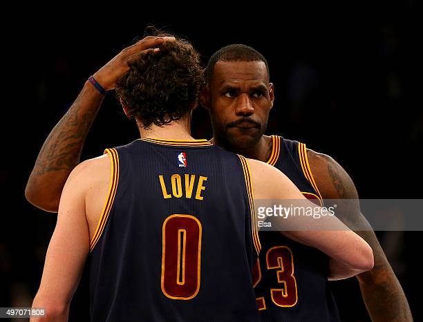 LeBron James and Kevin Love of the Cleveland Cavaliers celebrate the win over the New York Knicks at Madison Square Garden on November 13 2015 in New...