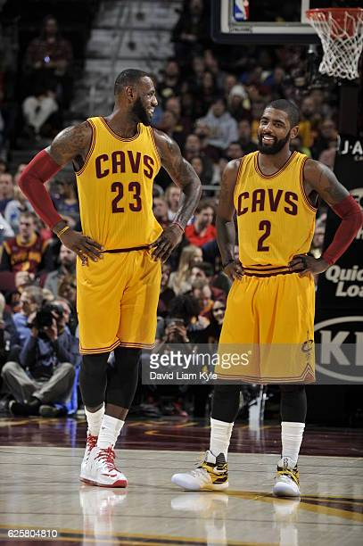 LeBron James and Kyrie Irving of the Cleveland Cavaliers are seen against the Dallas Mavericks on November 25 2016 at Quicken Loans Arena in...