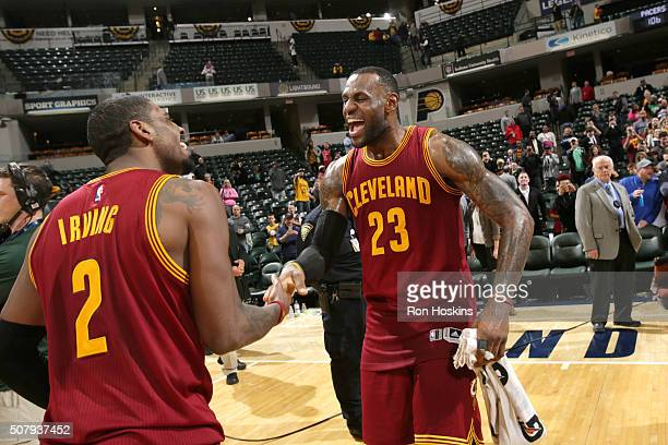 LeBron James and Kyrie Irving of the Cleveland Cavaliers celebrate after the game against the Indiana Pacers on February 1 2016 at Bankers Life...