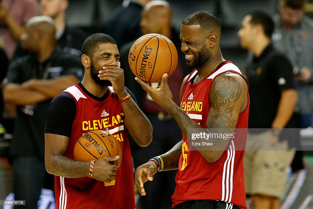 <a gi-track='captionPersonalityLinkClicked' href=/galleries/search?phrase=LeBron+James&family=editorial&specificpeople=201474 ng-click='$event.stopPropagation()'>LeBron James</a> #23 and <a gi-track='captionPersonalityLinkClicked' href=/galleries/search?phrase=Kyrie+Irving&family=editorial&specificpeople=6893971 ng-click='$event.stopPropagation()'>Kyrie Irving</a> #2 of the Cleveland Cavaliers laugh during a conversation at practice for the 2016 NBA Finals at ORACLE Arena on June 1, 2016 in Oakland, California. The Warriors will take on the Cavaliers on June 2, 2016.