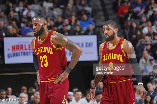 LeBron James and Kyrie Irving of the Cleveland Cavaliers look on during the game against the Sacramento Kings on January 13 2017 at Golden 1 Center...
