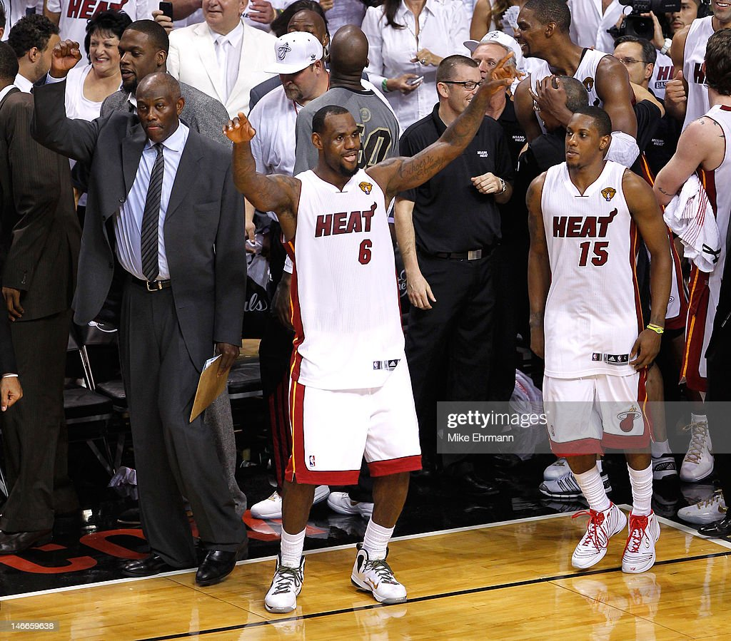 LeBron James and Mario Chalmers of the Miami Heat celebrate late in the fourth quarter against the Oklahoma City Thunder in Game Five of the 2012 NBA...