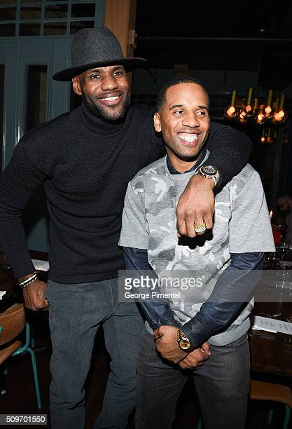 LeBron James and Maverick Carter attend the Beats In The Six And Drake Welcome Dinner at Fring's on February 11 2016 in Toronto Canada