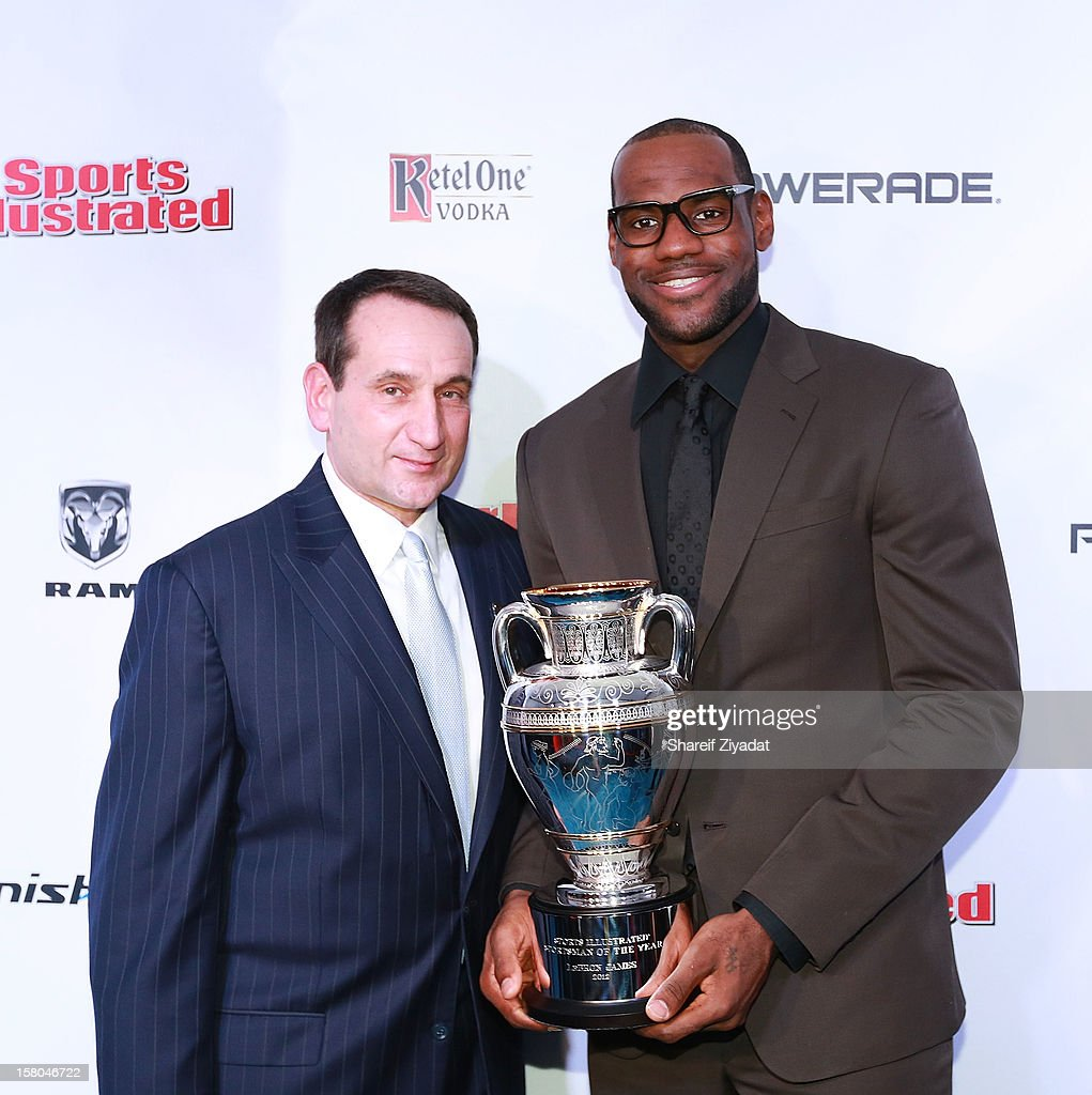LeBron James and Mike Krzyzewski attend the 2012 Sports Illustrated Sportsman of the Year award presentation at Espace on December 5, 2012 in New York City.