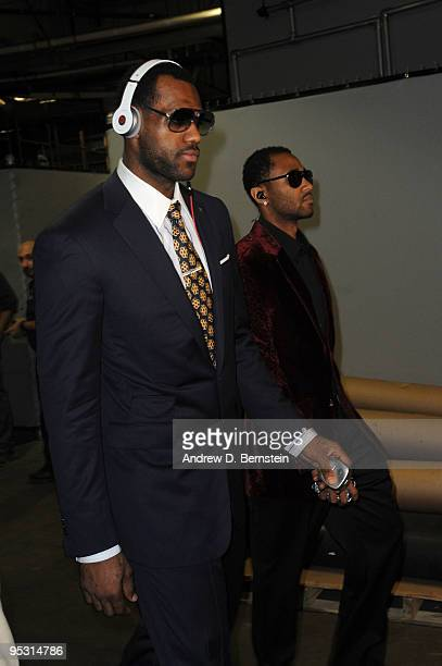 LeBron James and Mo Williams of the Cleveland Cavaliers arrive at the arena before taking on the Los Angeles Lakers at Staples Center on December 25...