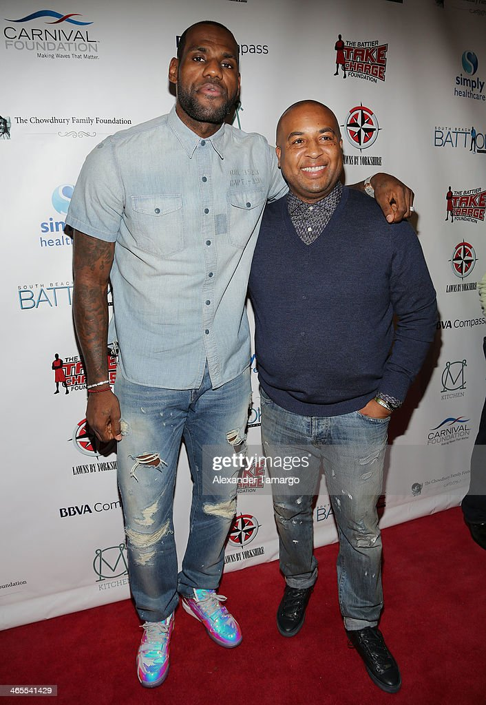 <a gi-track='captionPersonalityLinkClicked' href=/galleries/search?phrase=LeBron+James&family=editorial&specificpeople=201474 ng-click='$event.stopPropagation()'>LeBron James</a> and Randy Mims arrive at South Beach Battioke 2014 at Fillmore Miami Beach on January 27, 2014 in Miami Beach, Florida.