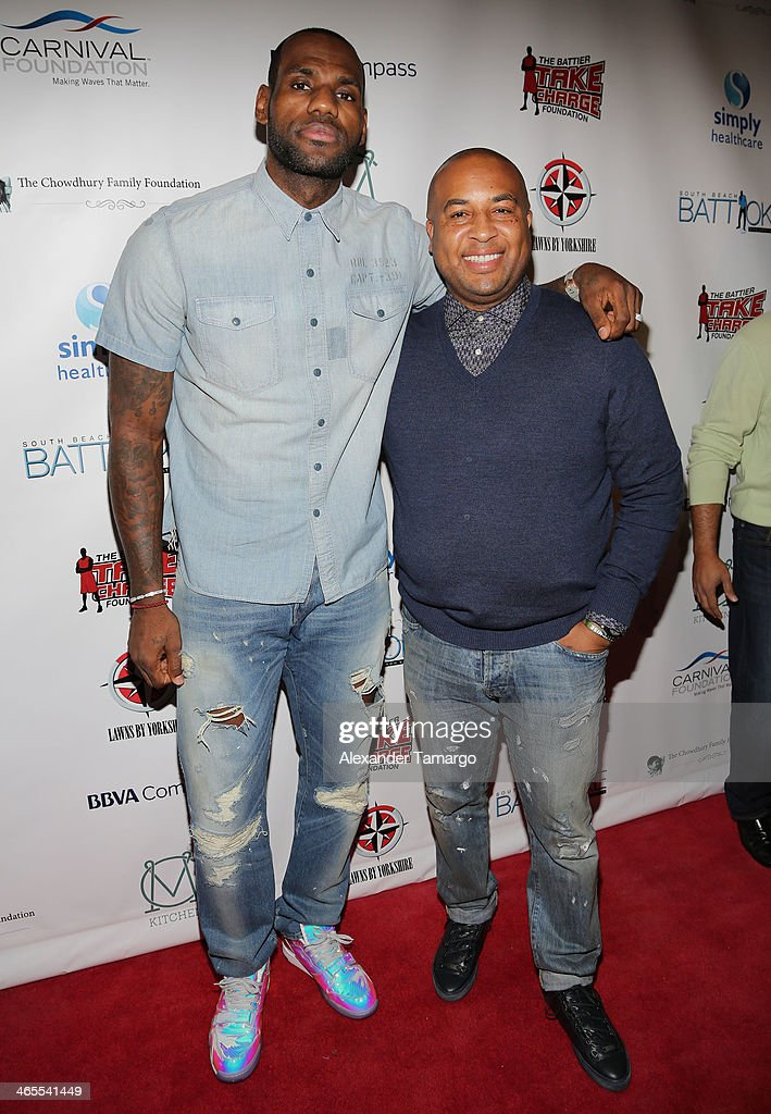 LeBron James and Randy Mims arrive at South Beach Battioke 2014 at Fillmore Miami Beach on January 27, 2014 in Miami Beach, Florida.