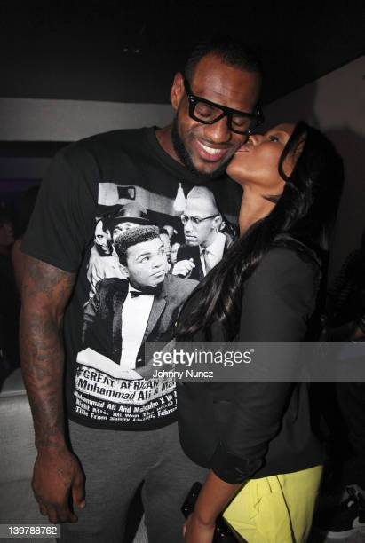LeBron James and Savannah Brinson attend Ball So Hard All Star Weekend Party on February 24 2012 in Orlando Florida