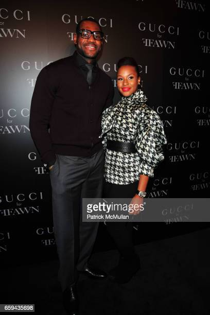 LeBron James and Savannah Brinson attend GUCCI Cocktail Party for FFAWN at Gucci on 5th Avenue on September 16 2009 in New York City