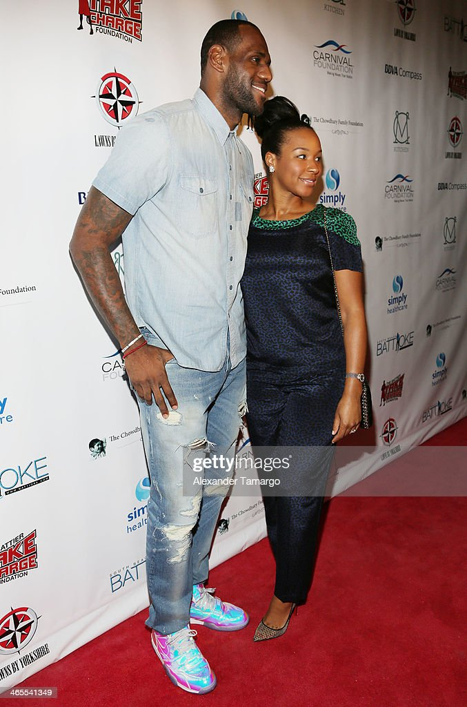 LeBron James and Savannah James arrive at South Beach Battioke 2014 at Fillmore Miami Beach on January 27, 2014 in Miami Beach, Florida.