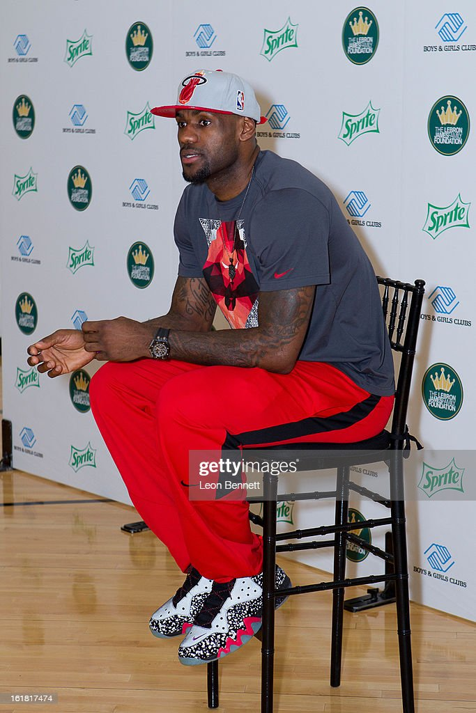 <a gi-track='captionPersonalityLinkClicked' href=/galleries/search?phrase=LeBron+James&family=editorial&specificpeople=201474 ng-click='$event.stopPropagation()'>LeBron James</a> and Sprite unveiled a refurbished gymnasium at the Boys and Girls Club of Houston on Saturday as part of NBA All-Star weekend on February 16, 2013 in Houston, Texas.