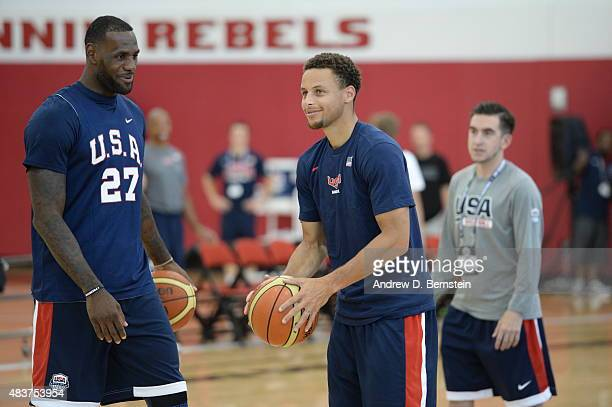 LeBron James and Stephen Curry of USA Mens National Team participates in minicamp at UNLV on August 12 2015 in Las Vegas Nevada NOTE TO USER User...