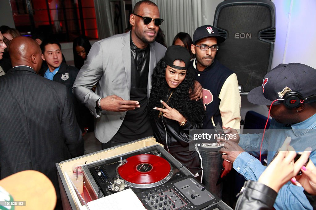 Lebron James and <a gi-track='captionPersonalityLinkClicked' href=/galleries/search?phrase=Teyana+Taylor&family=editorial&specificpeople=4224306 ng-click='$event.stopPropagation()'>Teyana Taylor</a> attend <a gi-track='captionPersonalityLinkClicked' href=/galleries/search?phrase=LeBron+James&family=editorial&specificpeople=201474 ng-click='$event.stopPropagation()'>LeBron James</a>, Believe Entertainment Group And Spring Hill Prods. All-Star Celebration To Kick Off Season Two Of 'The LeBrons' at Hudson Lounge on February 15, 2013 in Houston, Texas.
