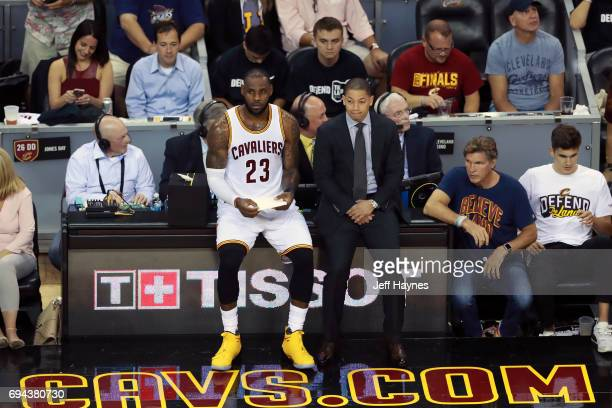 LeBron James and Tyronn Lue of the Cleveland Cavaliers during the game against the Golden State Warriors in Game Four of the 2017 NBA Finals on June...