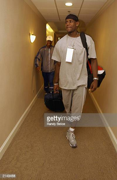 LeBron James arrives at his hotel as part of the NBA 2003 PreDraft Camp on June 8 2003 in Chicago Illinois NOTE TO USER User expressly acknowledges...