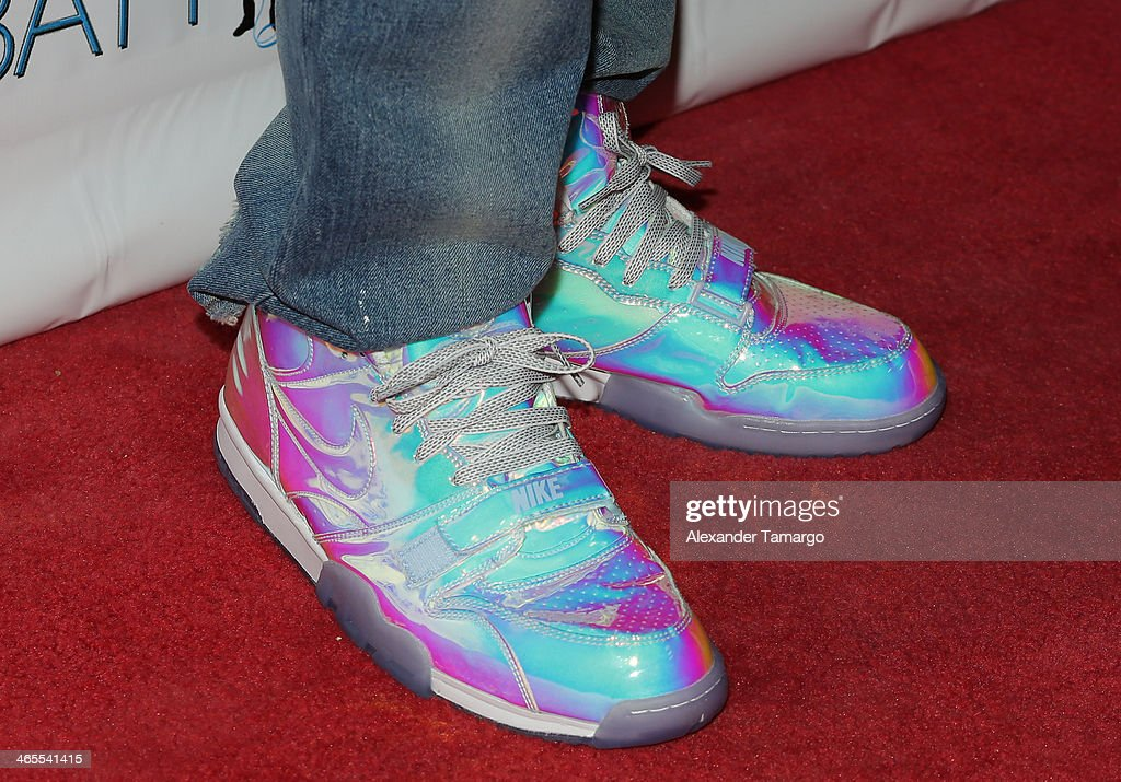 LeBron James (shoe detail) arrives at South Beach Battioke 2014 at Fillmore Miami Beach on January 27, 2014 in Miami Beach, Florida.