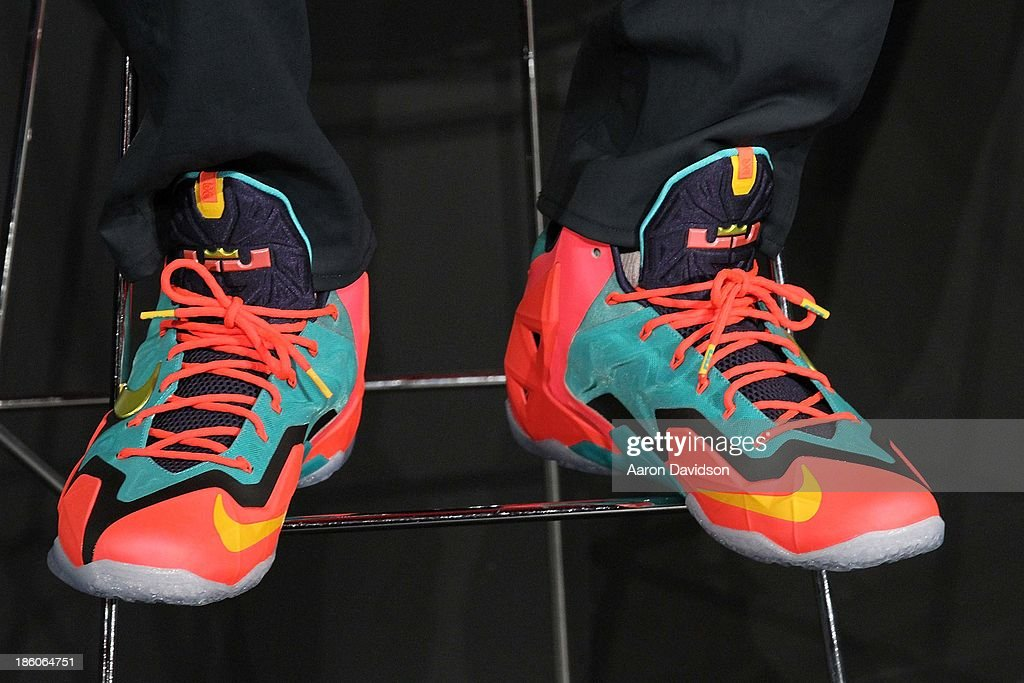 <a gi-track='captionPersonalityLinkClicked' href=/galleries/search?phrase=LeBron+James&family=editorial&specificpeople=201474 ng-click='$event.stopPropagation()'>LeBron James</a> (shoe detail) attends <a gi-track='captionPersonalityLinkClicked' href=/galleries/search?phrase=LeBron+James&family=editorial&specificpeople=201474 ng-click='$event.stopPropagation()'>LeBron James</a> 11/11 Experience hosted by Nike on October 27, 2013 in Miami Beach, Florida.