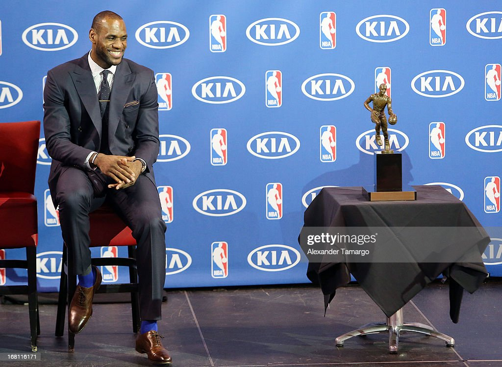 <a gi-track='captionPersonalityLinkClicked' href=/galleries/search?phrase=LeBron+James&family=editorial&specificpeople=201474 ng-click='$event.stopPropagation()'>LeBron James</a> attends the <a gi-track='captionPersonalityLinkClicked' href=/galleries/search?phrase=LeBron+James&family=editorial&specificpeople=201474 ng-click='$event.stopPropagation()'>LeBron James</a> press confernece to announce his 4th NBA MVP Award at American Airlines Arena on May 5, 2013 in Miami, Florida.